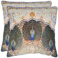 Pier One Peacock Pillow by Safavieh Raj Peacock 20 Inch Ivory Purple Decorative Pillows Set
