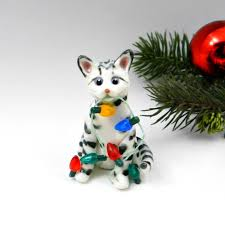 bengal cat silver snow ornament figurine porcelain clay