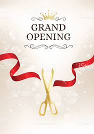 grand opening ribbon grand opening banner with cut ribbon and gold scissors stock