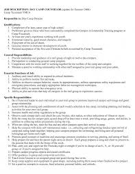 c counselor resume resume templates summer c leader sle exles for summer c
