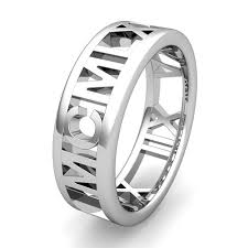 wedding band names custom my numeral wedding ring band in platinum 7mm
