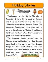 second grade reading comprehension worksheet holiday stories