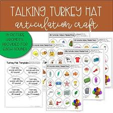 talking turkey hat articulation craft for speech therapy