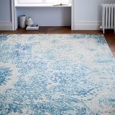 distressed ornament wool rug cobalt west elm