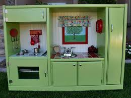 pretend kitchen furniture upcycled play kitchen for kids from hutch inhabitots