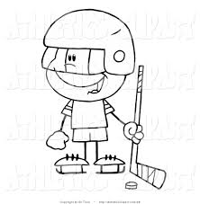 clip art of a coloring page of a little boy playing a hockey