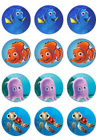 nemo cake toppers orange and blue fish edible image cupcake toppers etsy finding