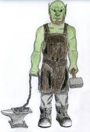 Orc Rule 34 - drew a new character concept half orc blacksmith with improvised