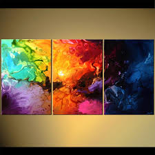Paint Colorful - abstract painting colorful modern abstract triptych canvas 5669