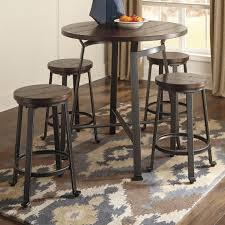 tall pub table and chairs challiman 5 piece round counter table set by signature design by