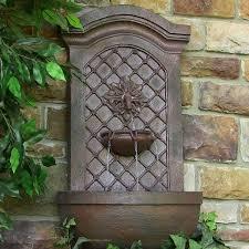 sunnydaze decor rosette leaf outdoor wall fountain weathered iron