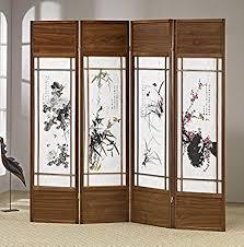 Room Divider Screens Amazon - amazon com adf 4 panel chinese floral painting shoji screen
