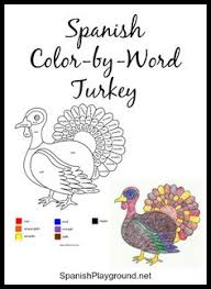 color by numbers in spanish thanksgiving worksheet november