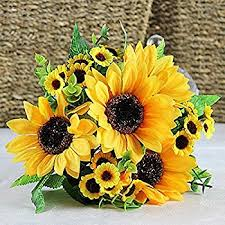 Flowers For Home Decor Amazon Com Yatim 8ft Sunflower Garland Pack Of 2 Foliage