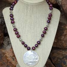 pearl rose necklace images Mother of pearl rose pendant necklace purple pearls handmade jpg
