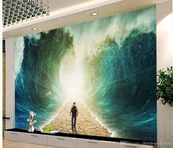 waves future oil paintings tv walls mural 3d wallpaper 3d wall