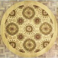 Circular Area Rugs Handmade And Tufted Circular Area Rug With Leaf Patterns In Gold
