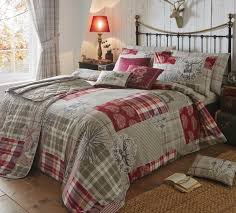 tatton patchwork bedding in red free uk delivery terrys fabrics