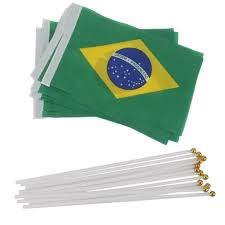 Plastic Flags 12pcs Mini Flags Handwaving Flag Brazil Brazilian National Flags
