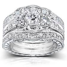bridal sets rings three diamond bridal set 1 1 4 carat ctw in 14k