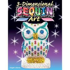 sequin 3d owl sparkling arts and crafts picture kit