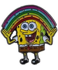 Rainbow Meme - spongebob squarepants enamel pin imagination rainbow meme hat