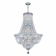 Lead Crystal Chandelier Empire 15 Light Chrome Finish With Clear Crystal Chandelier