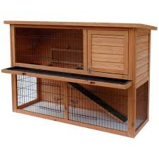 Rabbit Hutch Wood Merax Wooden Rabbit Hutch With Ramp Wood Bunny House Cage