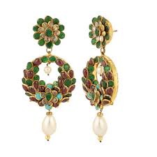 pachi earrings buy collection multicoloured antique golden baali style pachi