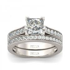 white sapphire wedding rings jeulia exquisite princess cut created white sapphire wedding set