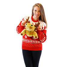 red 3d christmas sweater with stuffed moose