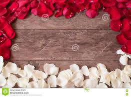 Wooden Table Top View Red Rose Petals Wooden Background Rose Petals Border Wooden Table