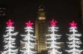 christmas lights seen at grand park in los angeles xinhua