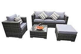 Grey Rattan Outdoor Furniture by Yakoe Rattan 5 Seater Garden Furniture Sofa Table Chairs Set