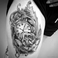 top class clock tattoos on thigh