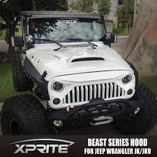 jeep hood accessories xprite monster front fiberglass hood with scoop vents for jeep