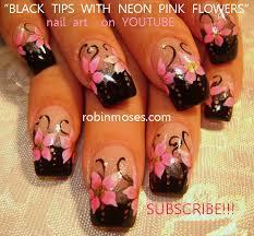 robin moses nail art neon pink and black nails mint green
