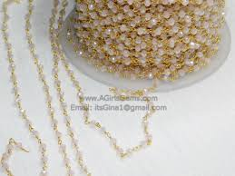 necklace making chains images 22k gold plated pink mystic chalcedony rosary chain wholesale 4 mm jpeg