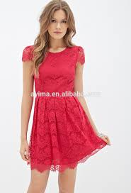sale latest women red lace dress short sleeve plain red lace