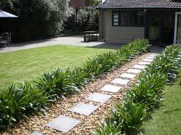 the path to the back of the house after laying pavers and pebbles