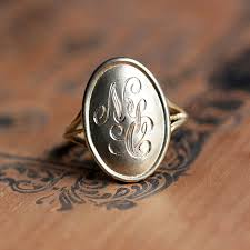 monogram ring gold 14k gold monogram ring for women metalicious handmade jewelry