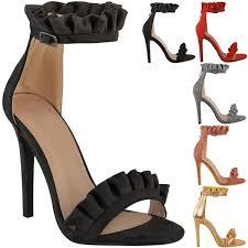 womens ladies ruffle trimmed antoinette high heel sandals frill