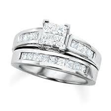 white gold wedding sets 2 ct t w princess cut diamond bridal set in 14k white gold