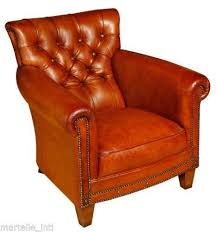 Red Club Chair Tufted Leather Chair Ebay
