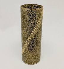 Mosiac Vase Antique Gold Mirror Mosaic Vase With Beads 18