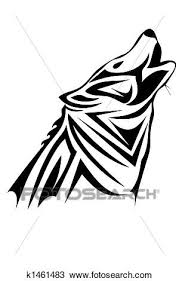 drawing of tribal wolf k1461483 search clipart illustration