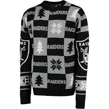 raiders christmas sweater with lights oakland raiders klew black patches ugly sweater nflshop com