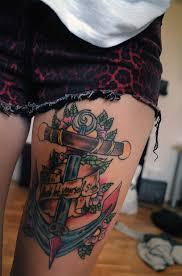 anchor flowers thigh designs for tattooshunt com