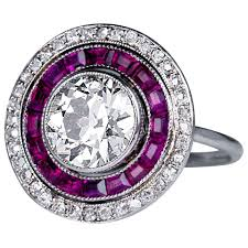 ruby engagement ring deco 2 carat ruby engagement ring for sale at 1stdibs