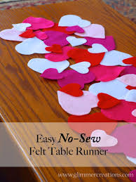 valentines day table runner glimmer creations easy no sew s day felt heart table